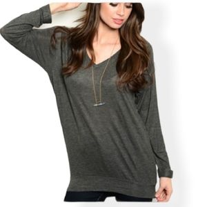 Zenana Outfitters Dolman Banded Tunic Top Gray M